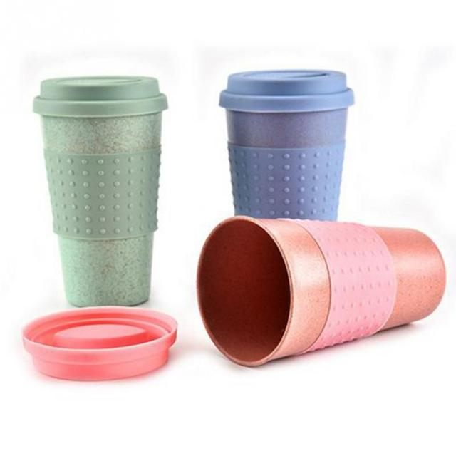 New Wheat Straw Plastic Coffee Cups Travel Mug With Lid Easy Go Cup Portable