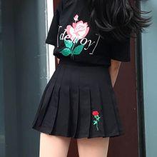 Summer 2018 Women Harajuku Pleated Skirt One Rose Embroidery Ulzzang Preppy Style High Waist Korean Black Skirts