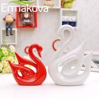 ERMAKOVA 2 Pcs/Pair Ceramic Swan Couple Model Figurine Animal Home Ornaments Porcelain Sculpture Wedding Gift Living Room Decor