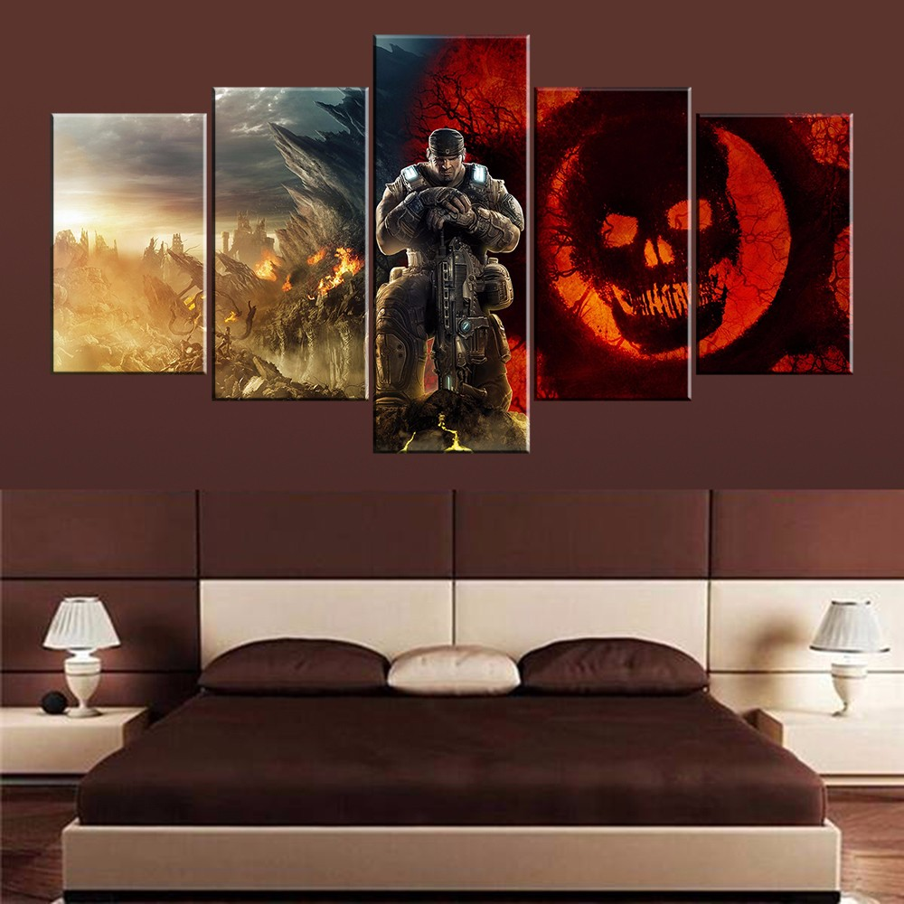 Wall Art 5 Pieces Game Gears Of War Picture Modern Home Decoration Or Bedroom Canvas Print Painting Wall Picture Living Room