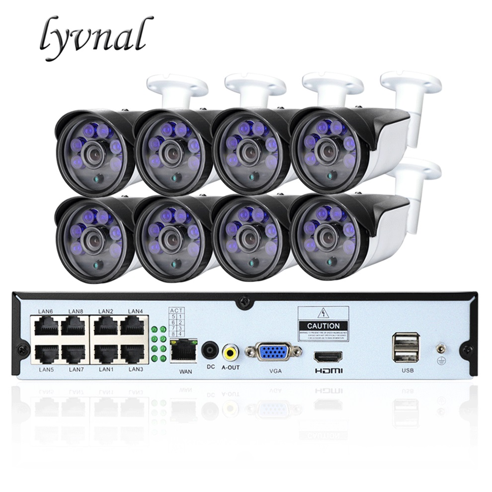 LYVNAL 8CH POE NVR plug and play h 265 5mp ip camera poe 48V Surveillance camera