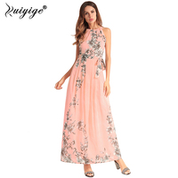 Ruiyige Women Summer Dress Chiffon Halter Floral Print Maxi Dresses Tunic Sleeveless Party Boho Vestidos Lining