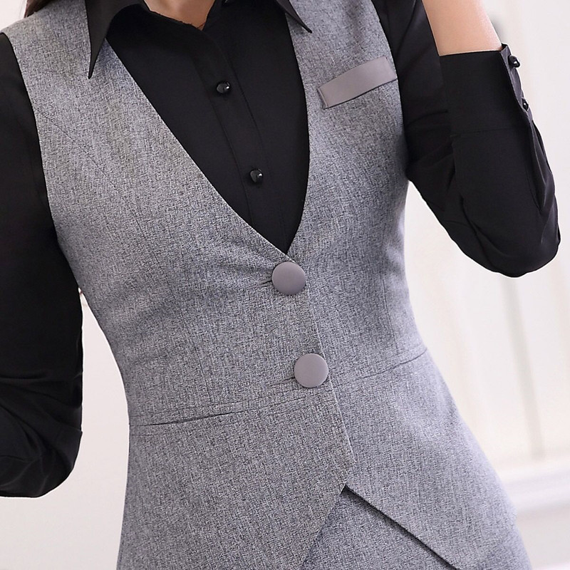 4e4d9abf1 € 22.61 10% de DESCUENTO|Moda delgada mujer chalecos falda traje OL  elegante carrera formal cuello pico chalecos con falda Oficina señoras  talla ...