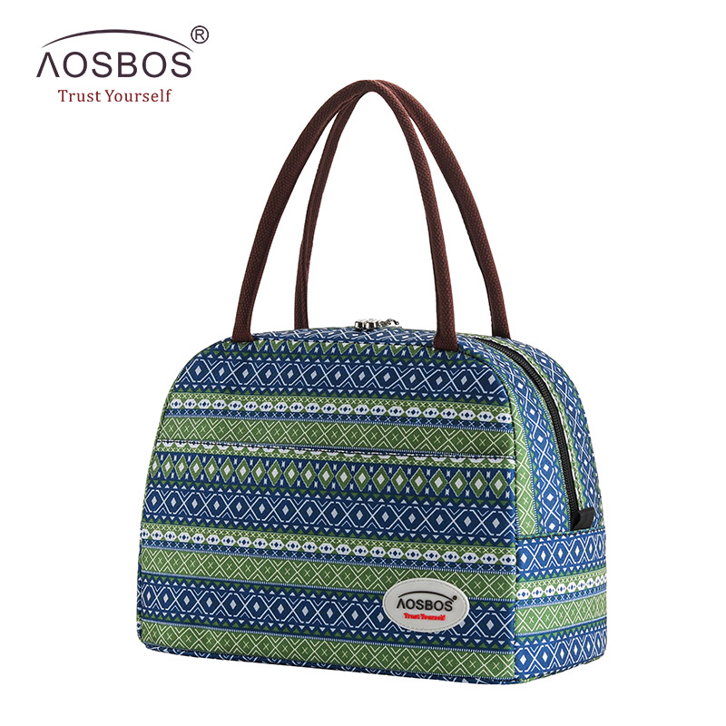 Aosbos Print Insulated Lunch Bag Portable Canvas Thermal Food Picnic Lunch Bags Cooler Lunch Box Bag Tote For Women Men Kids