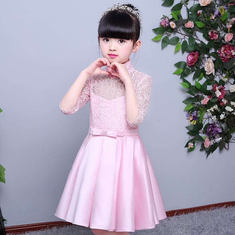 Newly Light Pink Lace Flower Girl Dresses For Wedding Beauty Pageant Dresses For Girls Long Sleeves Holy Communion Evening Dress pink lace up design cold shoulder long sleeves hoodie dress