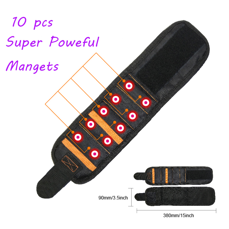 Strong Polyester Magnetic Wristband Portable Tool Bag Electrician Wrist Tool Belt Screws Nails Drill Bits Holder Repair Tool A35Strong Polyester Magnetic Wristband Portable Tool Bag Electrician Wrist Tool Belt Screws Nails Drill Bits Holder Repair Tool A35
