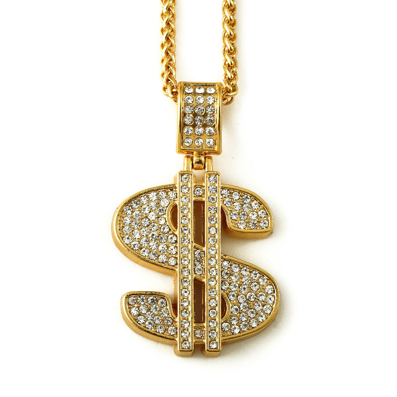 NYUK Gold Hip Hop Bling Dollar Sign 75cm Gold Chain Dollars Rhinestone Crystal Pendant Necklace Fashion Jewelry Men Women Gifts