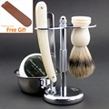 Wet Shaving Set Straight Edge Barber Razor Stand Bowl Soap Pure Badger Brush