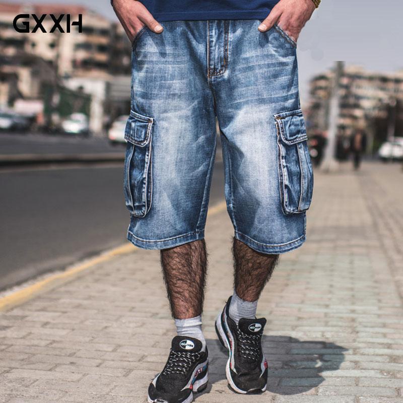 NEW Brand Mens Big Size Loose Baggy Short Jeans For Men Boy's Hip Hop Skateboard Pants For Rappers Rap Trousers Blue Hiphop