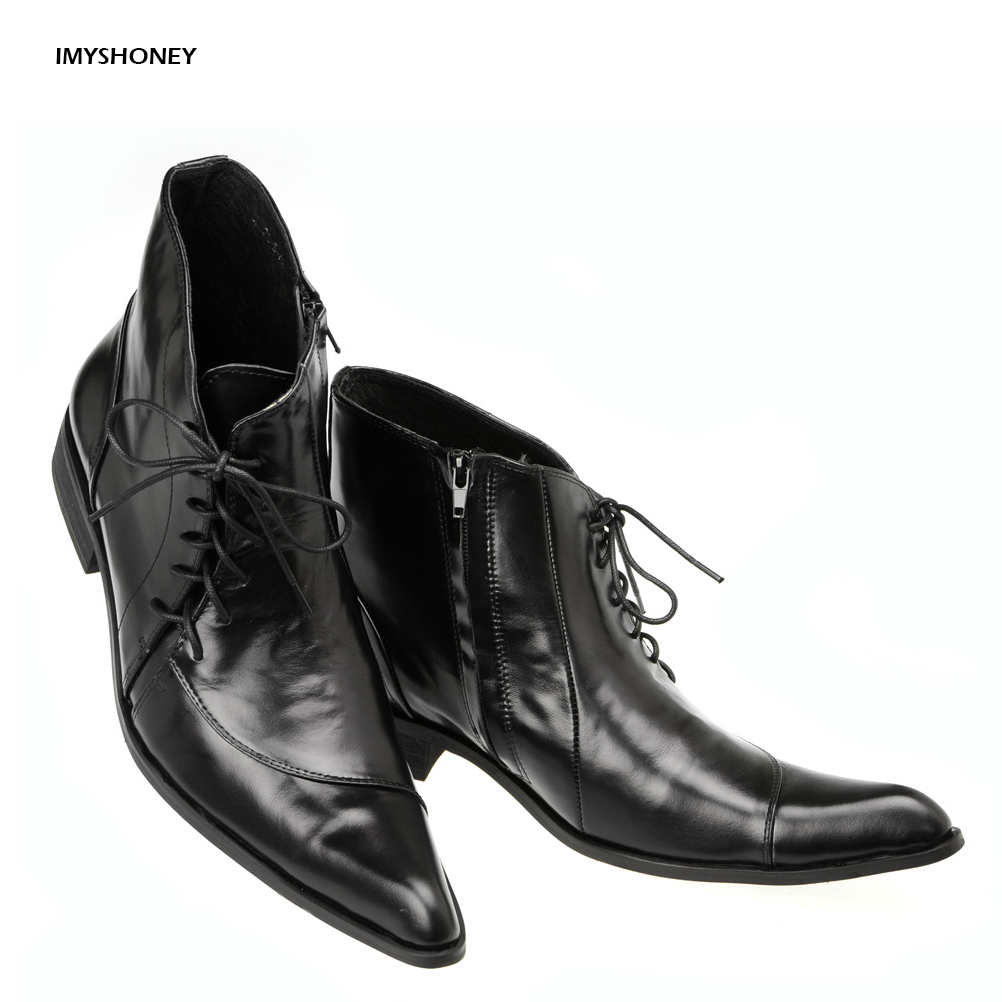 High Quality Cow Leather Comfortable Genuine Leather Men Shoes Pointed Toe Shoes for Men Asymmetrical Design Men's Boots top brand high quality genuine leather casual men shoes cow suede comfortable loafers soft breathable shoes men flats warm