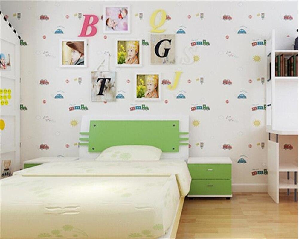 Beibehang wall paper home decor Children s Room Wallpaper Cute Boy Girl Bedroom background Car Cartoon 3D Wallpaper roll
