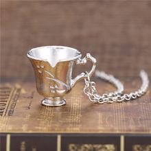 Free Shipping  Once Upon A Time Rumbelle Bella Clip Tea Cup Pendant Charm Necklace Collier Femme Kolye Movie Jewelry