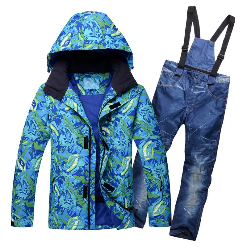 Зимние лыжные костюмы мужские Ветрозащитный Водонепроницаемый Лыжная куртка  + брюки сноуборд мужчины снег пальто Кемпинг езда a5a1be269fd