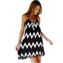 Women's dress with spaghetti straps with open back and zip, striped summer sexy dress, wavy, tassels, sleeveless women's dress цена в Москве и Питере