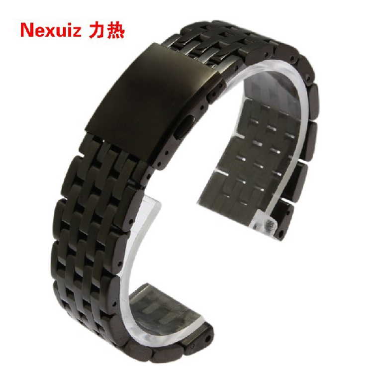 Nexuiz Watchbands 24mm 28mm 30mm Band Width High Quality Stainless Steel  Black Wrist Watch Band Strap Bracelet Mens accessories