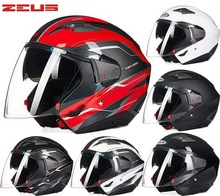 Dot zeus zs-611e media cara casco mujeres de los hombres de la motocicleta moto motocross moto eléctrica cascos de seguridad de doble visera tamaño m xxl
