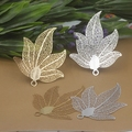 10pcs new 45mm leaf shape filigree wire pendant charms for diy jewelry --gold/silver /bronze color option