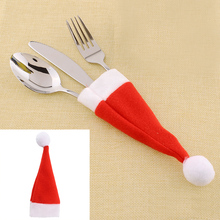 Wholesale10pcs lot Red Santa Hat Christmas Fork Bags Tableware Silverware Holders Pocket Dinner Home Table Decor