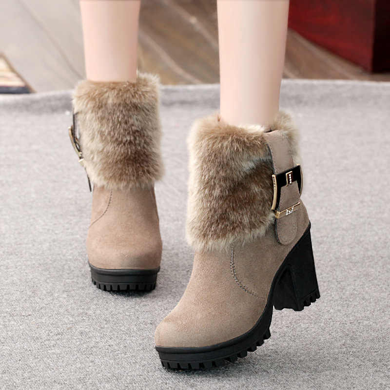 Wanita Sepatu Bot Musim Dingin Hangat Bulu Sepatu Hak Tinggi Pendek Martin Boots Fashion Hitam Square Platform Wanita Sepatu Salju Sepatu Bot VT310