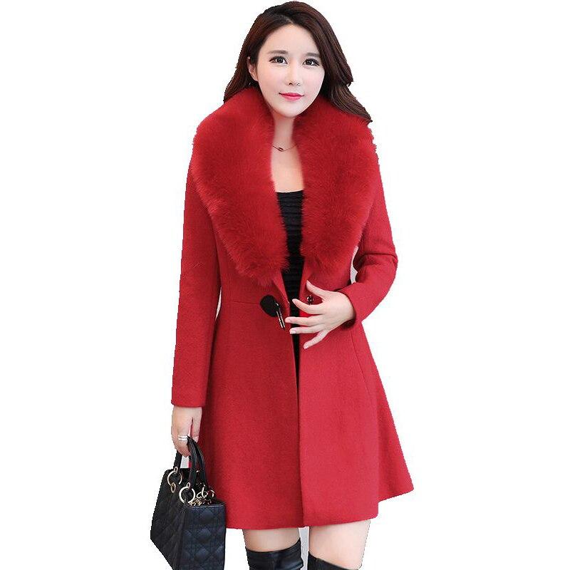 Grand col de fourrure Femmes Laine Manteau de Haute Qualité Veste D'hiver Femmes Slim Long Cachemire survêtement élégant Cardigan Vestes YM1041
