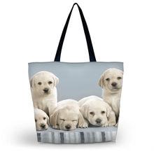 Nette Hunde Frauen Eco Einkaufstasche Mädchen der Schule Reisetasche Trage Faltbare Lebensmittelverpackung Tote Strandtasche Kostenloser verschiffen