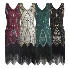 48797fc955f Women 1920s Flapper Dress Gatsby Vintage Plus Size Roaring 20s Costume  Dresses Fringed for Party Prom