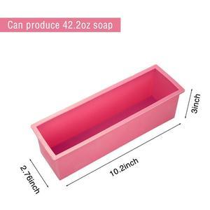 Image 2 - AsyPets 3PCS Rectangle Soap Mold Set DIY Toast Mold Silicon Pink Box + Wood Box Baking Tool (1.2KG Soap Volume) 30