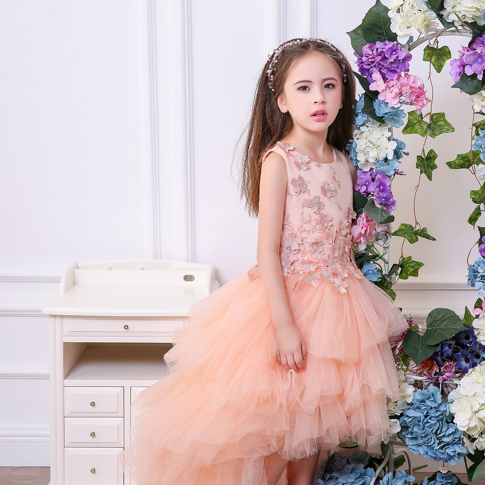 Asymmetrical Long Back Short Front Dress Flower Girl Formal Dress with Appliques Pink brother innov is 90e page 6