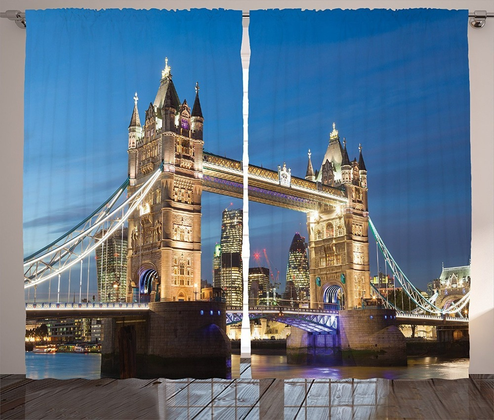 Landmark Tower Bridge at Twilight with Skyscrapers behind England Photography Living Room Bedroom Curtain 2 Panels Set