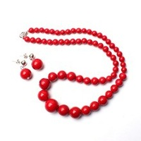 Nobility Woman Natural Jewelry 6 14mm Pretty Smooth Round Shape Red Color Necklace 10mm Round Shape