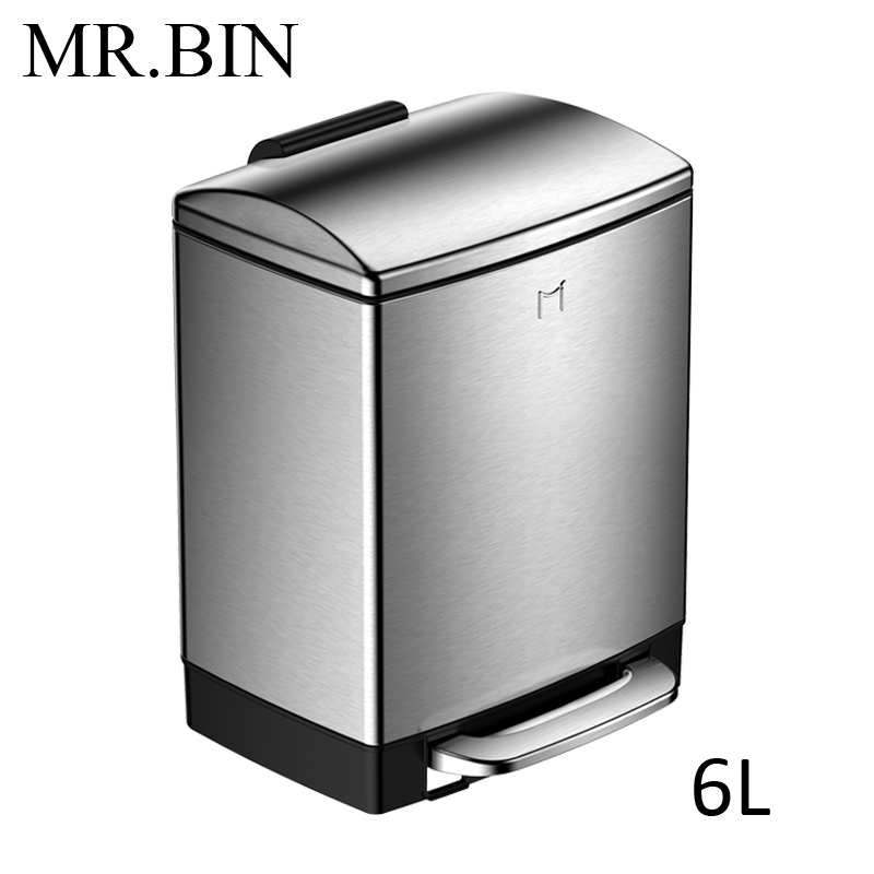 MR. BIN 6L/12L 410 мусорное ведро из нержавеющей стали с увеличенной педалью бытовой очистки современная простая мусорная урна