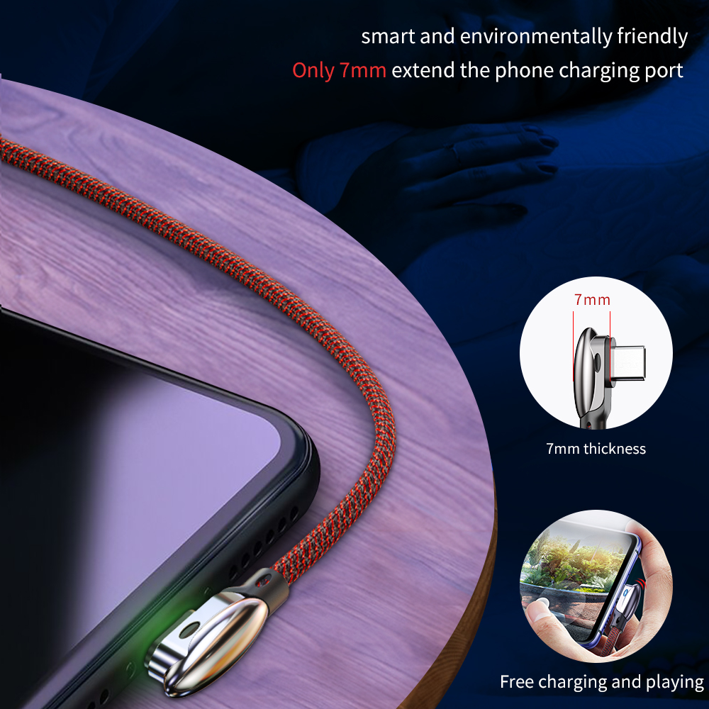 Essager 90 Angle USB C 3A Type C Cable Fast Charge For Samsung S10 S9 Note9 A50 Cord USBC Charging Cable For Xiaomi One Plus 6 5 in Mobile Phone Cables from Cellphones Telecommunications