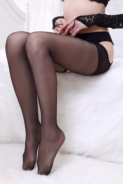Black open crotch Stockings Crotchless