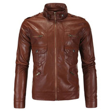 New Vintage Motorcycle Jacket Mens PU Leather Brown Slim Fit Pocket Biker Classical Moto Stand Collar Size M-5XL