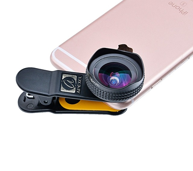 Apexel Optic Pro Lens Super Wide Angle 100 degree High Clarity Cell Phone Camera Lens Kit for iPhone X 8 More smartphones 18MM 5