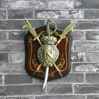 Vintage Style Armor Sword hanging wall decoration ornaments 18*24CM American Wall Stick Pub or Coffe bar Wall Decor