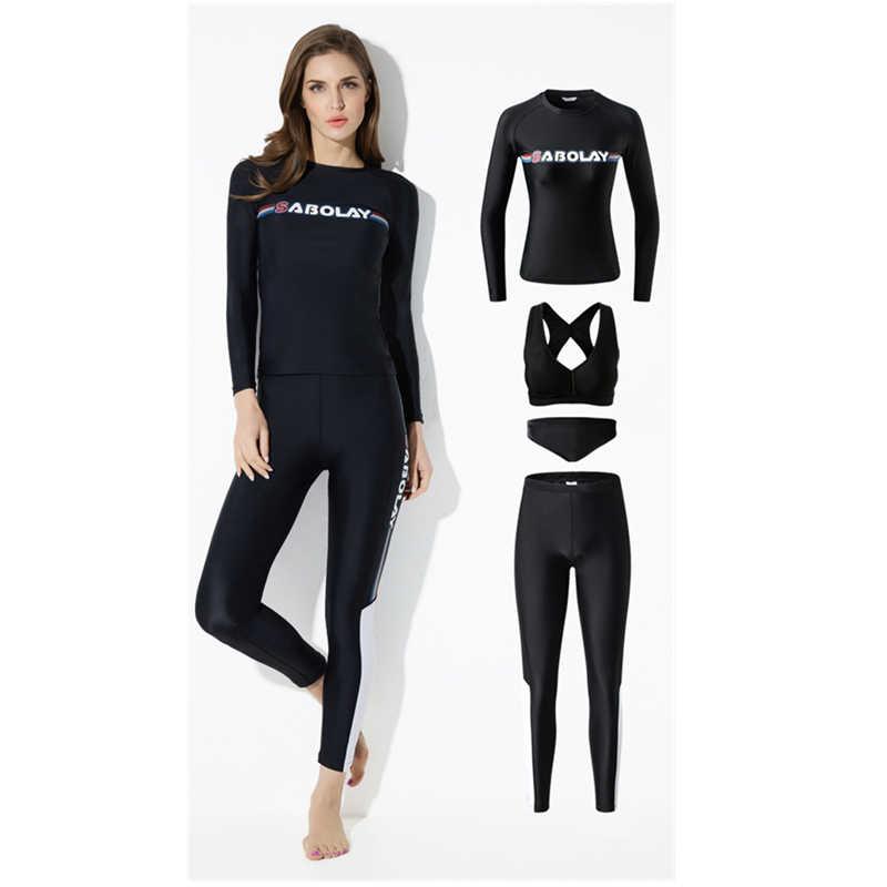 4 adet siyah döküntü Guard kadınlar profesyonel uzun kollu Set mayo Rashguard kadın sörf kıyafeti yüzme sörf için dalış bezi