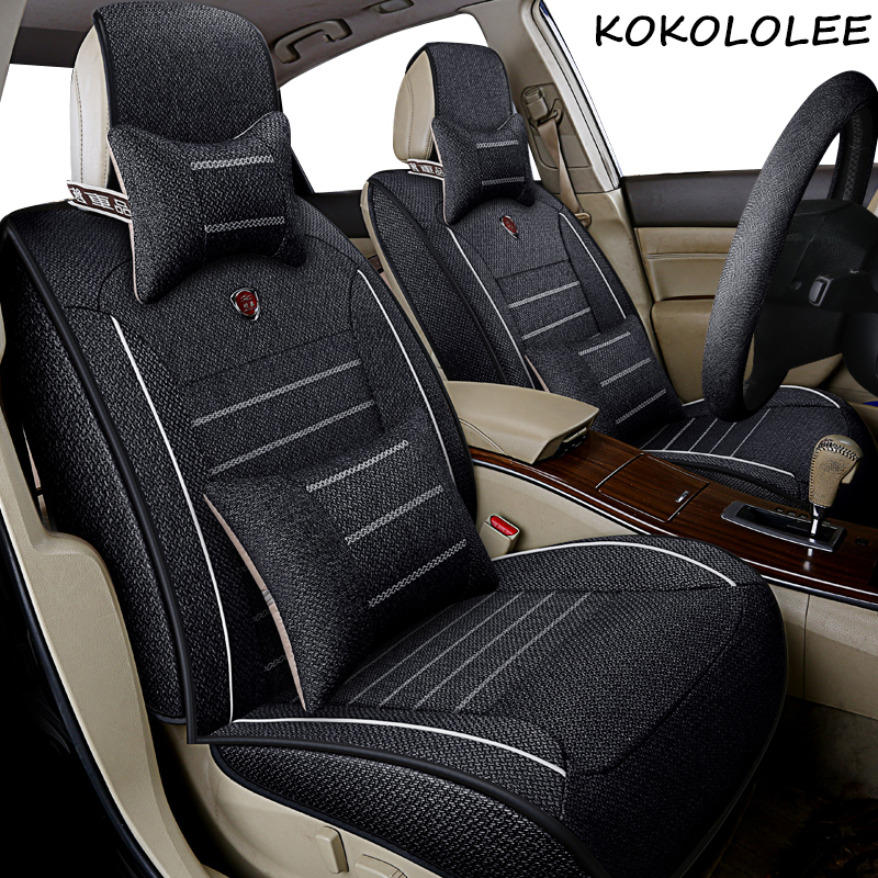 kokololee Universal flax Car Seat cover for Nissan all models qashqai x-trail tiida Note Murano March Teana automobiles styling kokololee pu leather car seat cover for nissan qashqai note murano march teana tiida almera x trai juke auto accessories styling