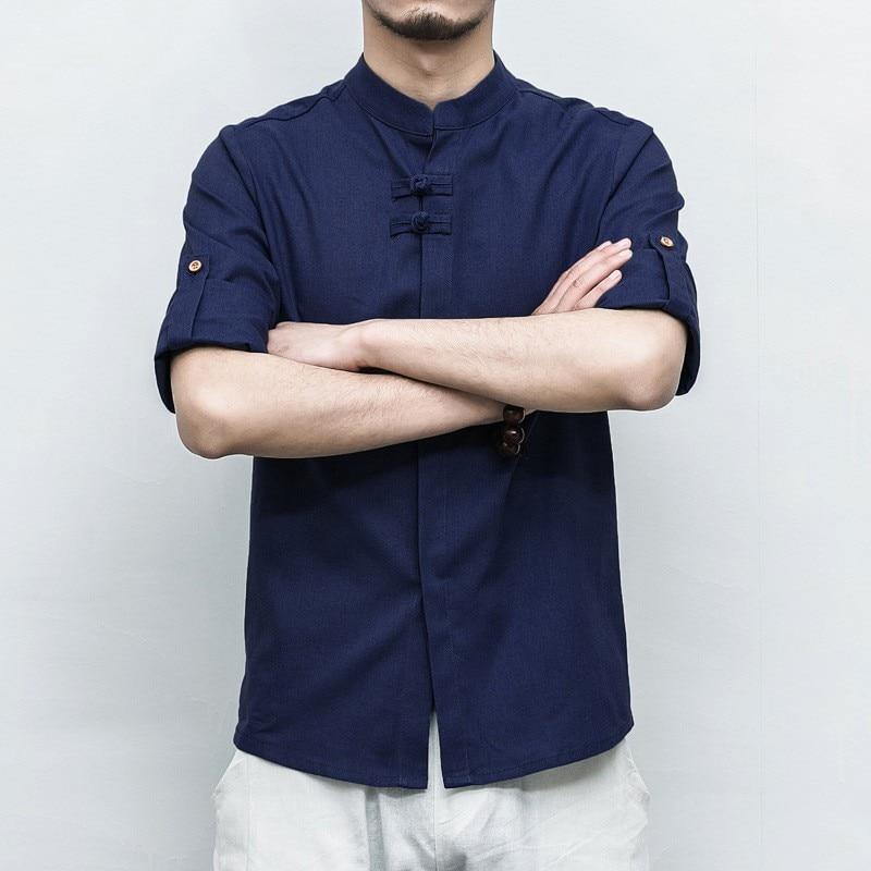 Grande taille coton lin Tang Style aile Chun Kung Fu Costume pour homme bleu Tai Chi chemises pour hommes haut ample solide livraison gratuite