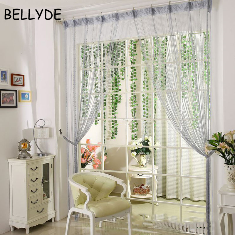 BELLYDE Home Decor 200cm X 100cm Beads Line Curtain Blinds Window Door  Divider Sheer Curtains Valance Window Kitchen Curtains