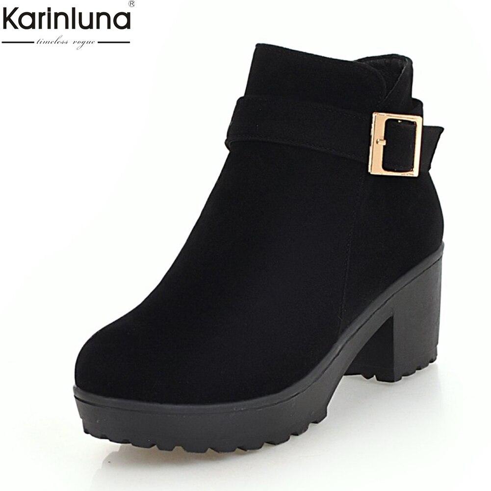 Karinluna 2019 qualidade superior dropship 48 chunky botas de salto alto tornozelo mulheres sapatos tamanho grande mulher adicionar botas de inverno sapatos de pelúcia mulher