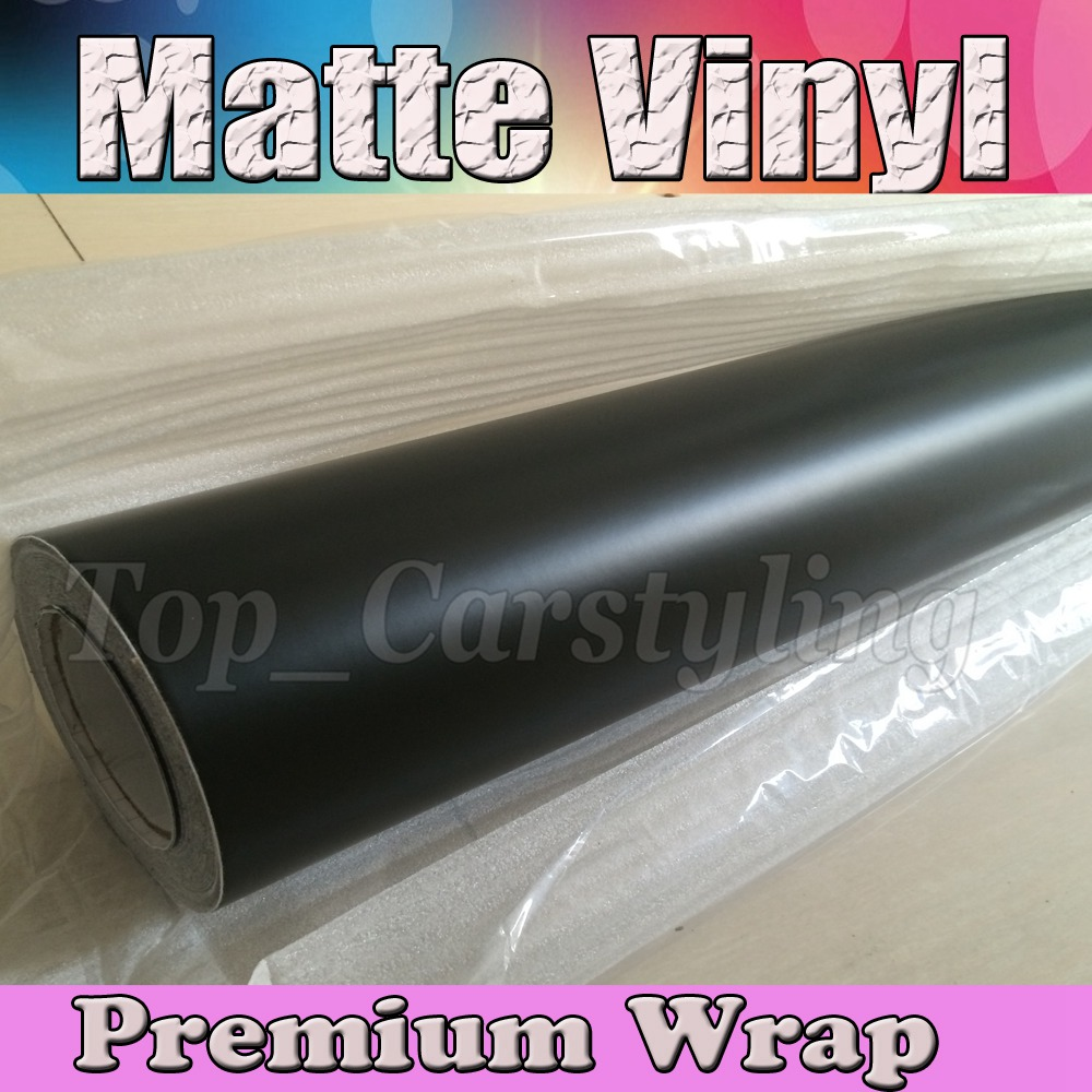 Satin Black Vinyl Car Wrap Film With Air release / Matte Black Vinyl Vehicle Wrapping Covering foil 1.52x30m/Roll (5ftx98ft)