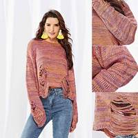 Women Autumn Crop Top Sweater Sleeves Pullovers Sweet Candy Color Loose Tops LBY2018