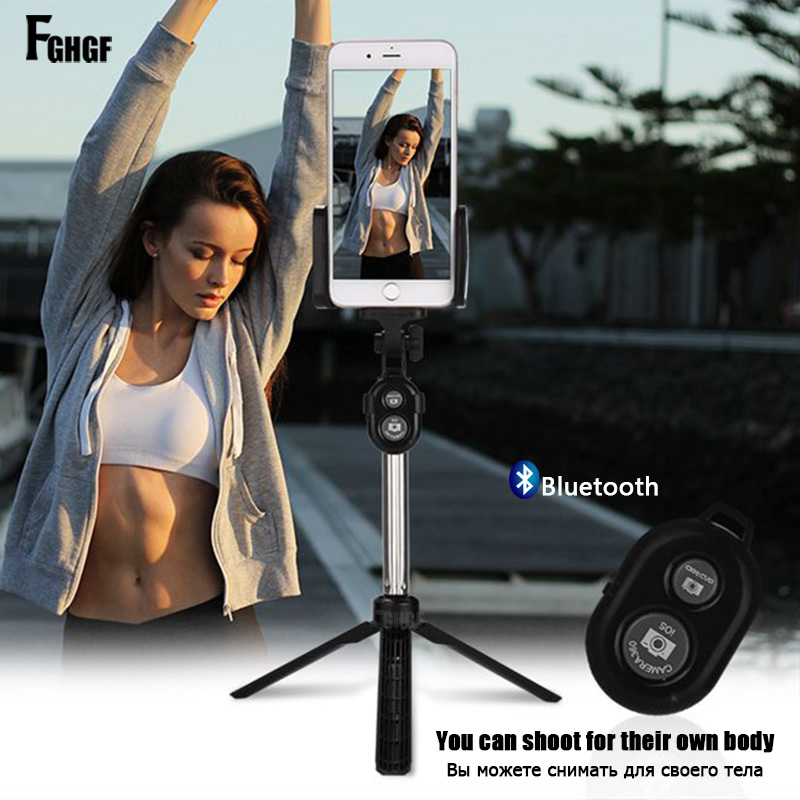 FGHGF Handheld mini Tripod Phone selfie stick Bluetooth Shutter Remote Controller Foldable Wireless for iPhone Selfie Stick ...