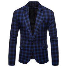Plaid Suit Mens Blazer Slim fit Casual Man Jacket men clothes 2019 Black Gray Blue