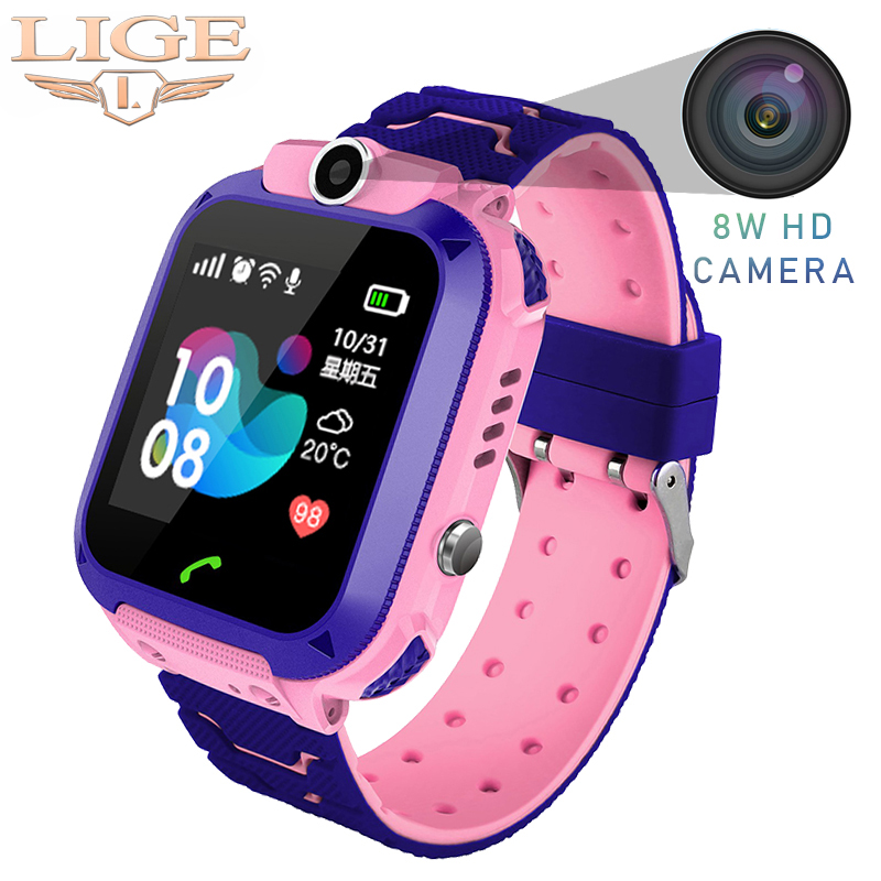 LIGE Childrens Smart Watch LBS Positioning Tracker IP67 Waterproof Baby Watch Sos one-click Call For help support SIM Card +BoxLIGE Childrens Smart Watch LBS Positioning Tracker IP67 Waterproof Baby Watch Sos one-click Call For help support SIM Card +Box