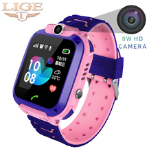 LIGE Childrens Smart Watch LBS Positioning Tracker IP67 Waterproof Baby Sos one-click Call For help support SIM Card +Box