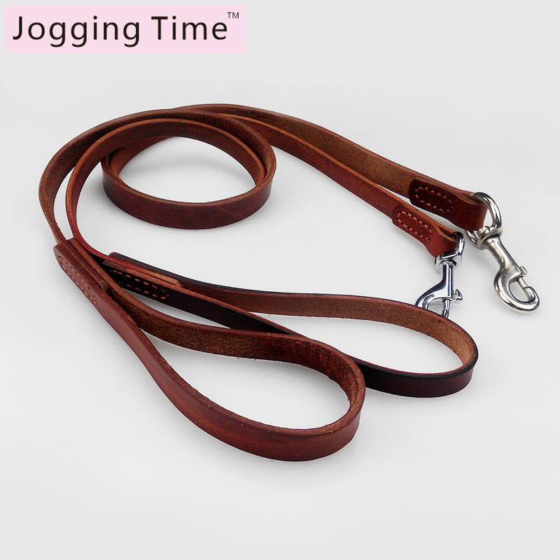High quality Strong Genuine Leather Pet Leashes Cow Leather Pets dog Leash For Medium Large Dogs Brown Color