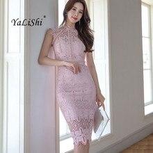 цена Summer Plus Size Pencil Dress 2019 Women Pink Sleeveless Stand Knee-length Elegant Party Dress Office Lace Lady Dresses Vestidos