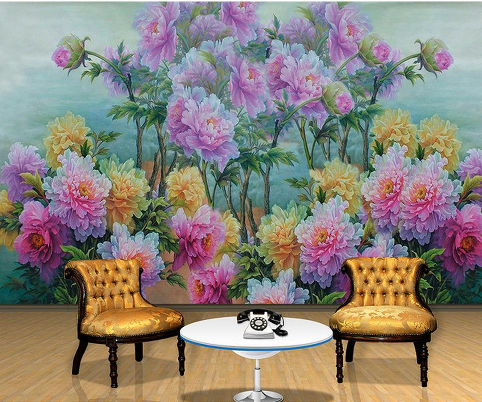 custom 3d wallpaper Peony Flower Watercolor Chinese Style ...